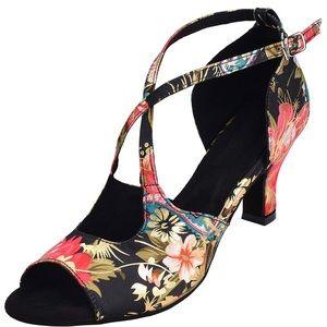 Pro Latin/Ballroom Dance Shoes Size 7.5/8 Blk/Gld